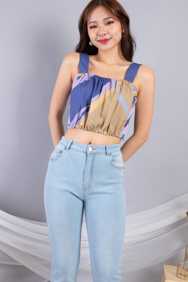 Reyta Bubble Ruched Cropped Top in Navy Base