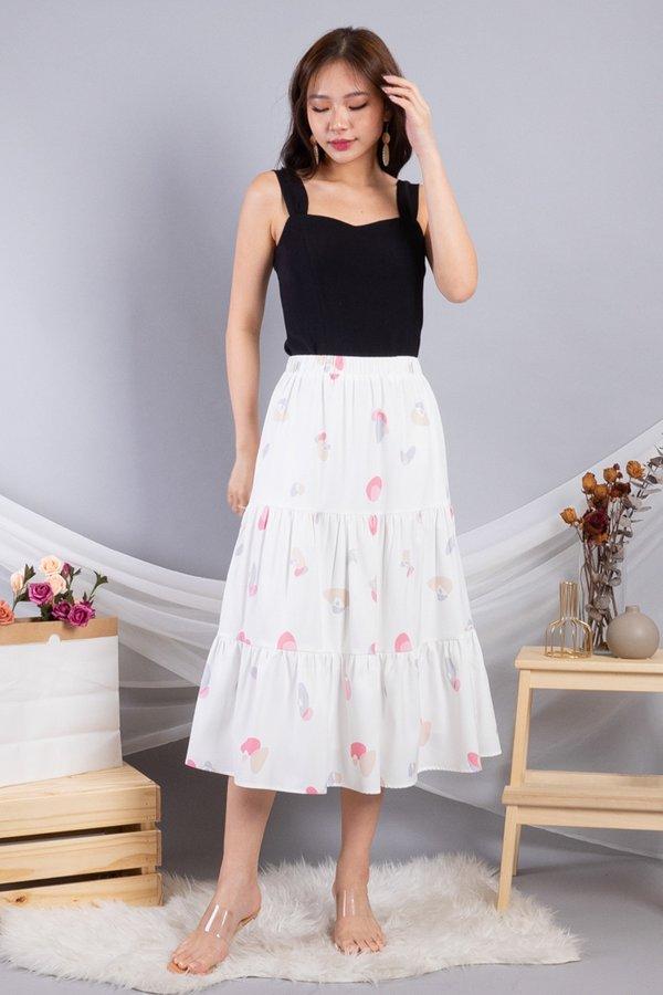 Calynda Tier Skirt in White Prints