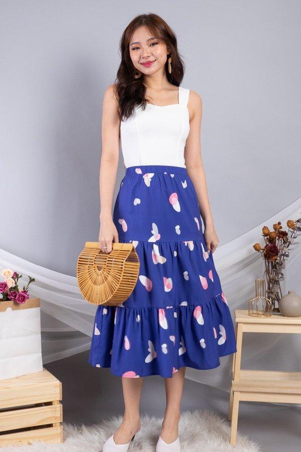 Calynda Tier Skirt in Navy Prints
