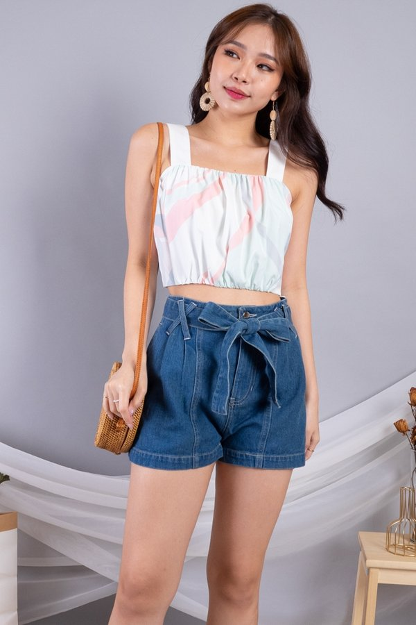 Reyta Bubble Ruched Cropped Top in White Base