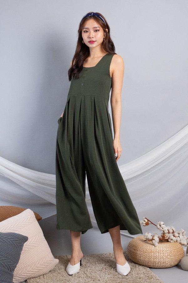 Dezie Wide Leg Jumpsuit in Olive [S/L]