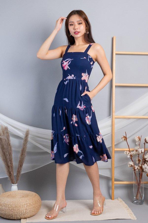Adelia Triple-tiered Midi Dress in Navy Florals