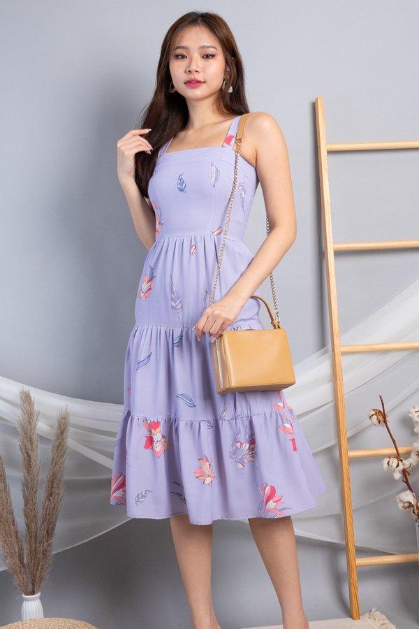 Adelia Triple-tiered Midi Dress in Lilac Florals
