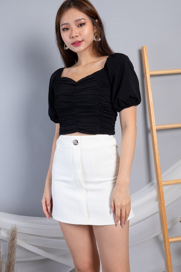Yami 2 Way Ruched Top in Black