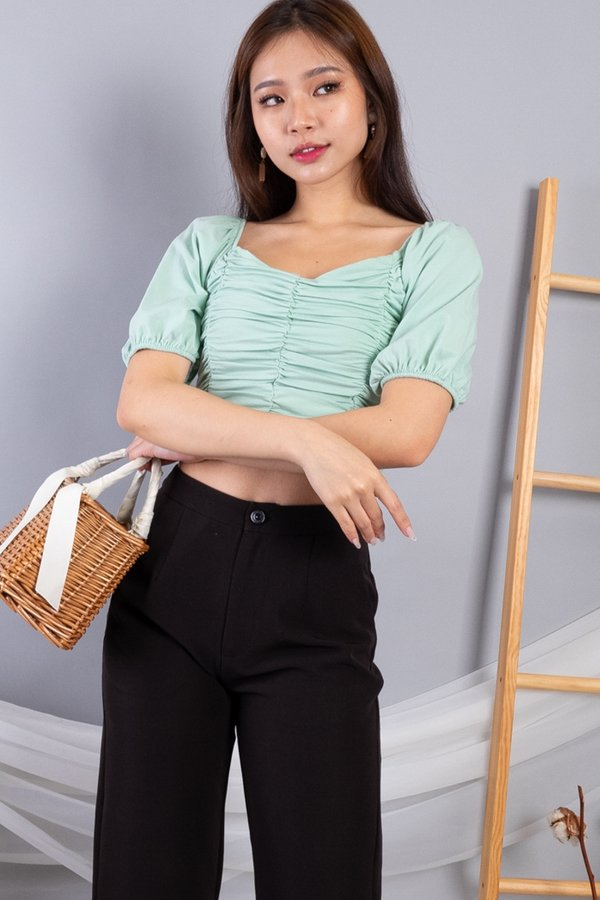 Yami 2 Way Ruched Top in Mint