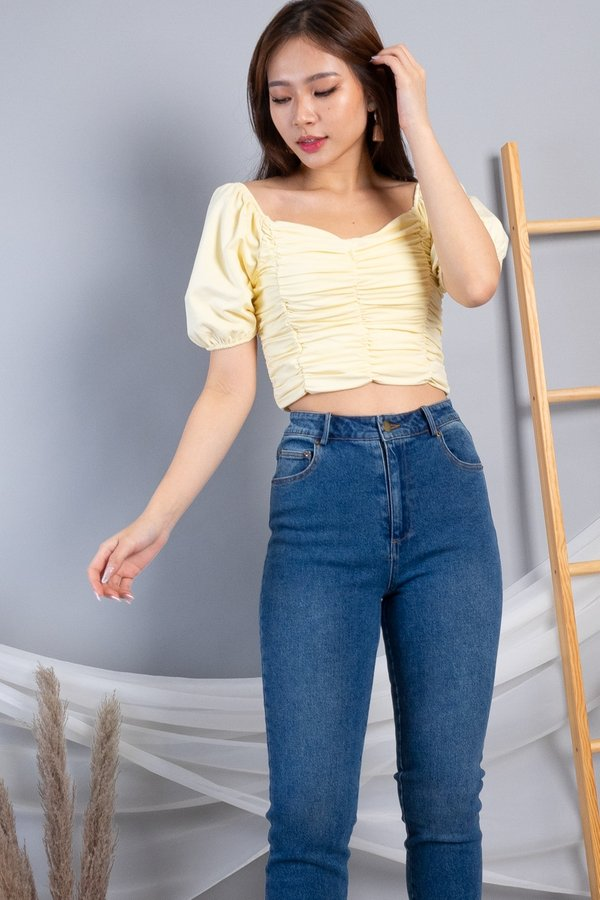 Yami 2 Way Ruched Top in Buttermilk