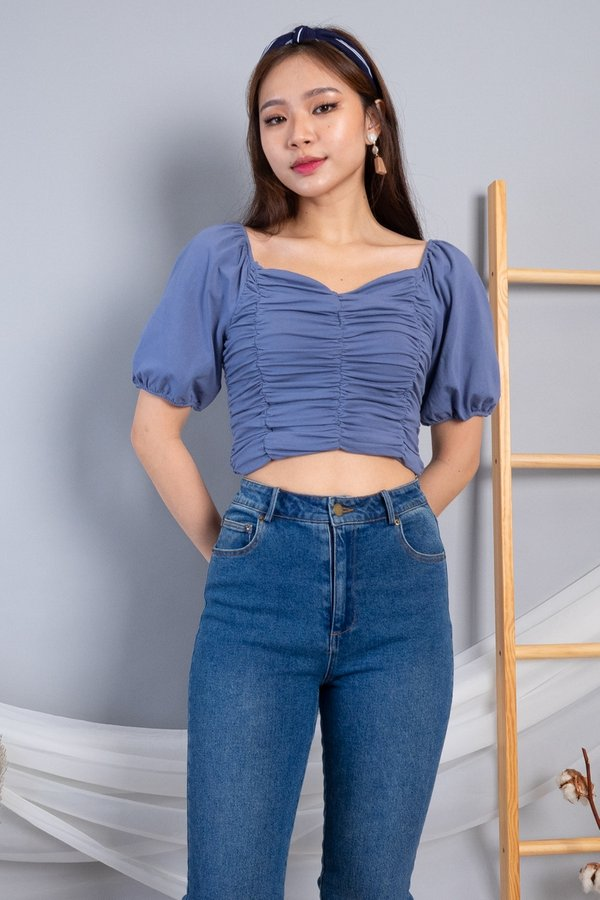 Yami 2 Way Ruched Top in Blue