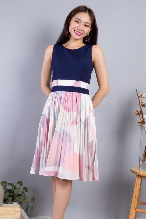 Mahola Paperbag Pleated Dress in Navy