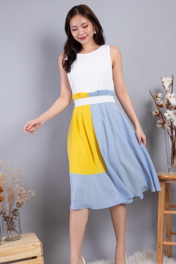 Kaysha Colourblock Paperbag Dress in White