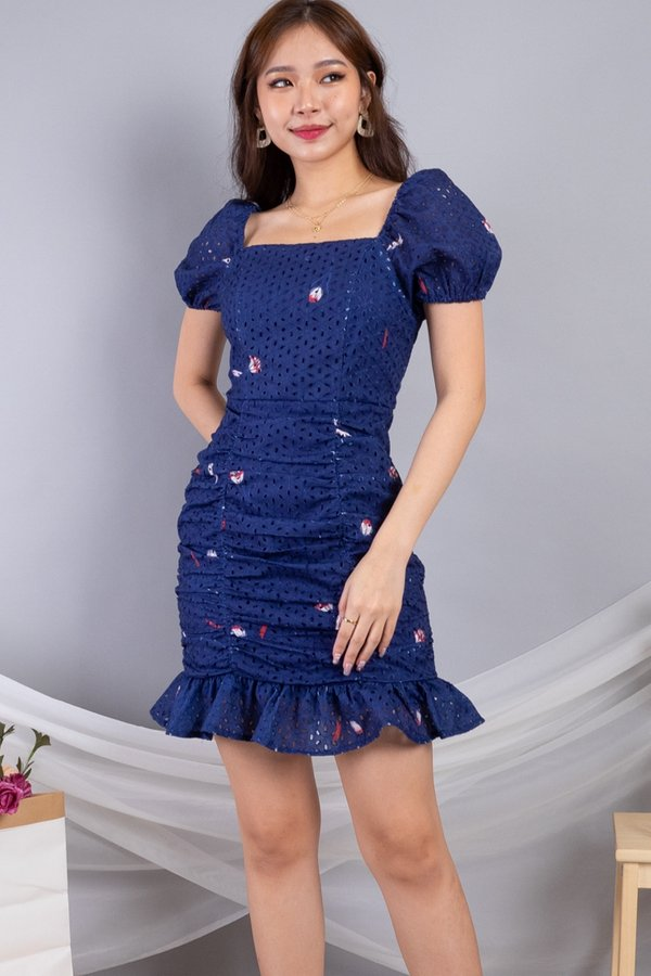 Daryna 2-Way Eyelet Ruched Dress in Navy
