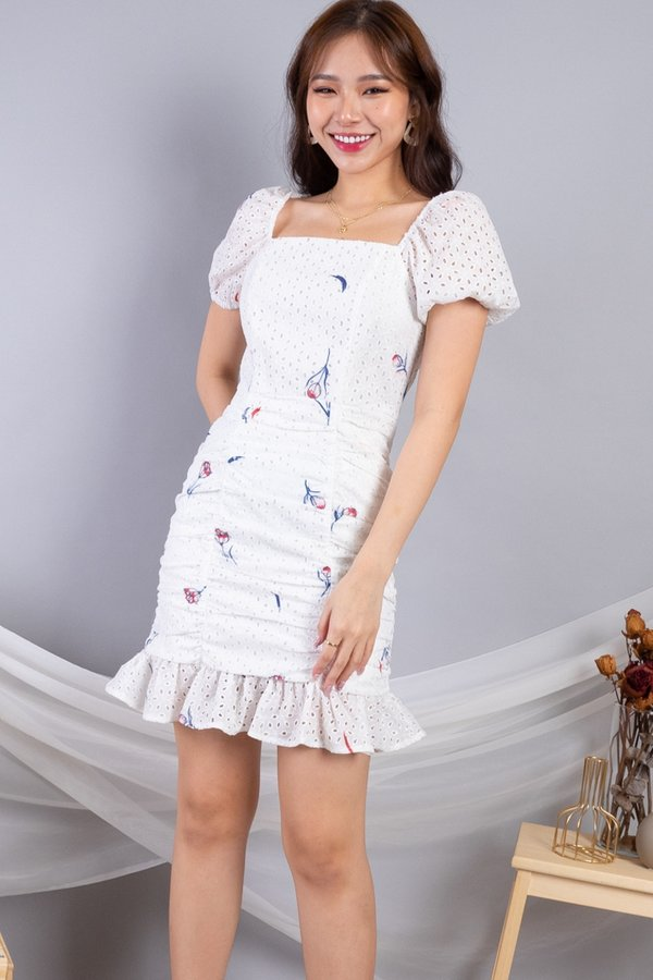 Daryna 2-Way Eyelet Ruched Dress in White