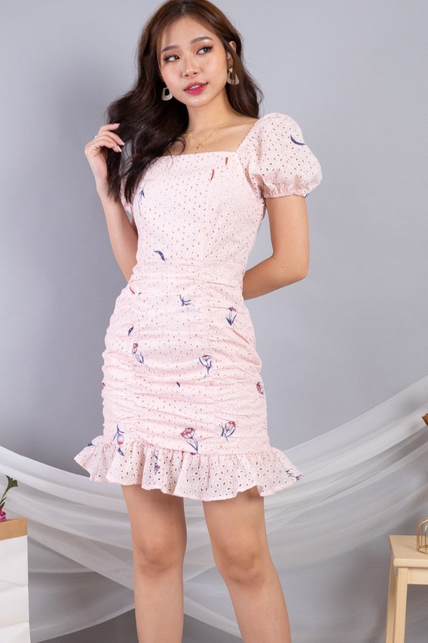 Daryna 2-Way Eyelet Ruched Dress in Pink
