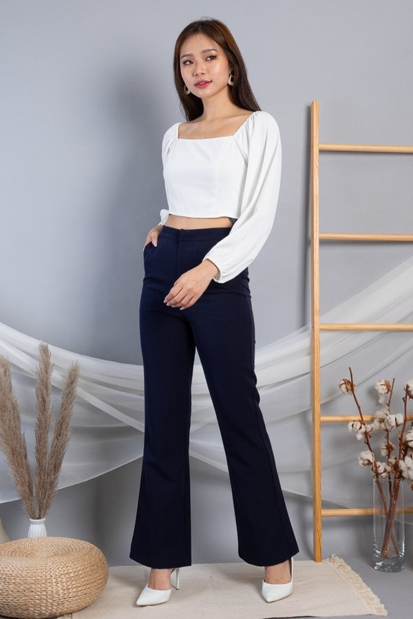 MADEBY3INUTE - Cheree Aladdin Sleeves Cropped Top in White