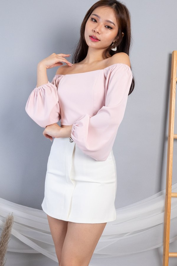 MADEBY3INUTE - Cheree Aladdin Sleeves Cropped Top in Pink