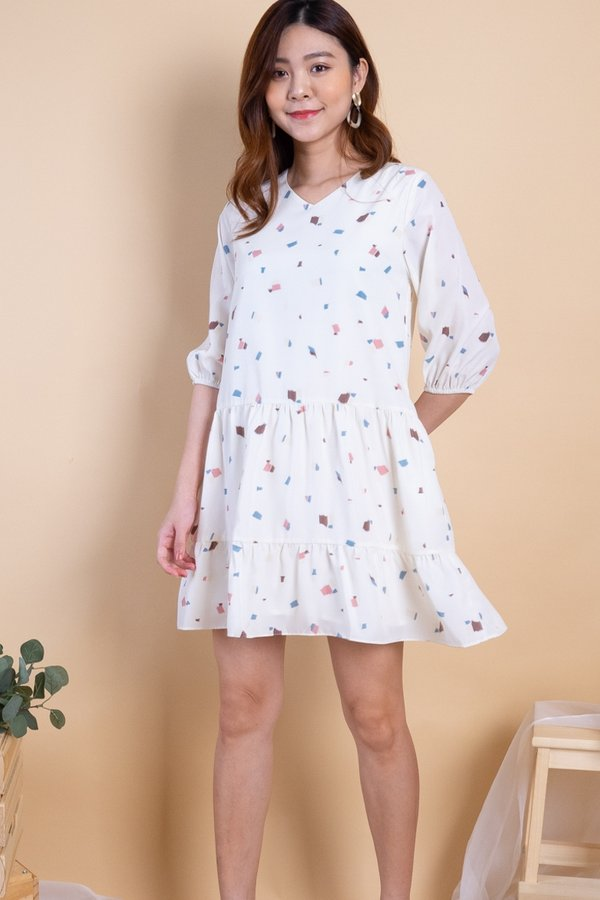 Hova Duo-Tiered Play Dress in Cream Prints