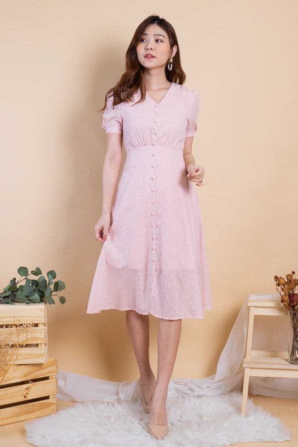 Katrine Buttons Down Sleeved Midi Dress in Pink
