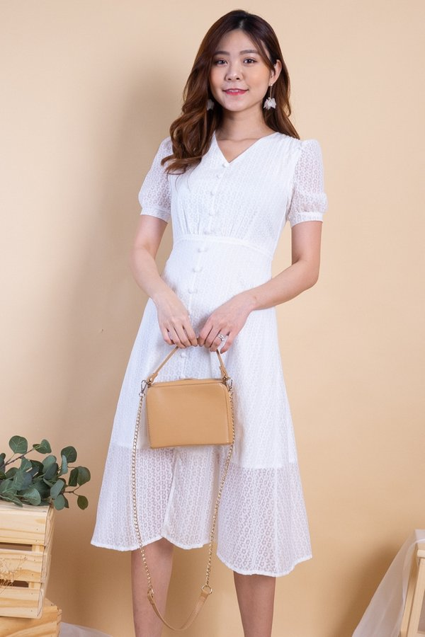 Katrine Buttons Down Sleeved Midi Dress in White