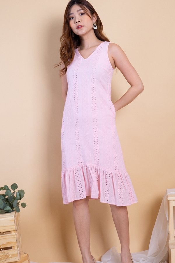 Ryoko Eyelet Hi-Lo Hem Dress in Pink