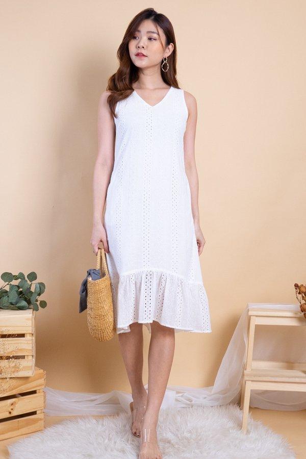 Ryoko Eyelet Hi-Lo Hem Dress in White