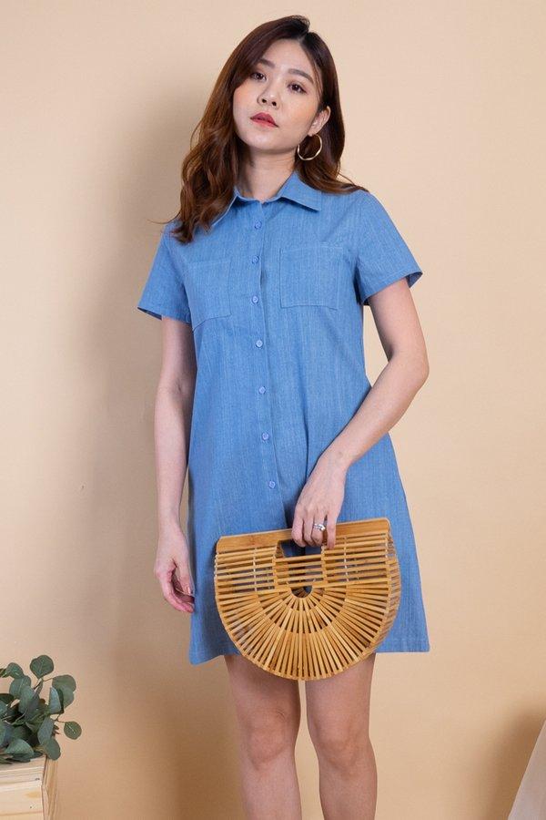 Blaye Double Pockets Shift Dress in Light Denim
