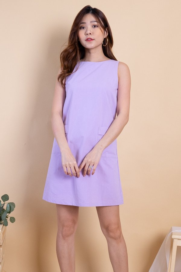 Naylor Double Pockets Shift Dress in Purple