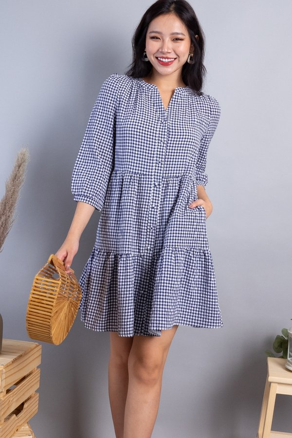 Maude Buttons Down Tiered Dress in Navy Checks