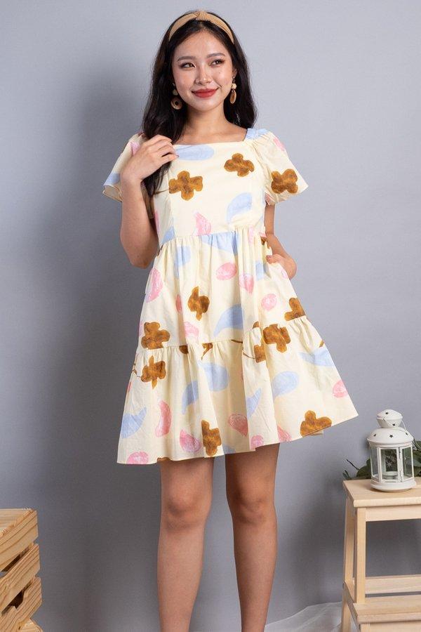 Maeva 2-Way Ruffled Tier Dress in Buttermilk