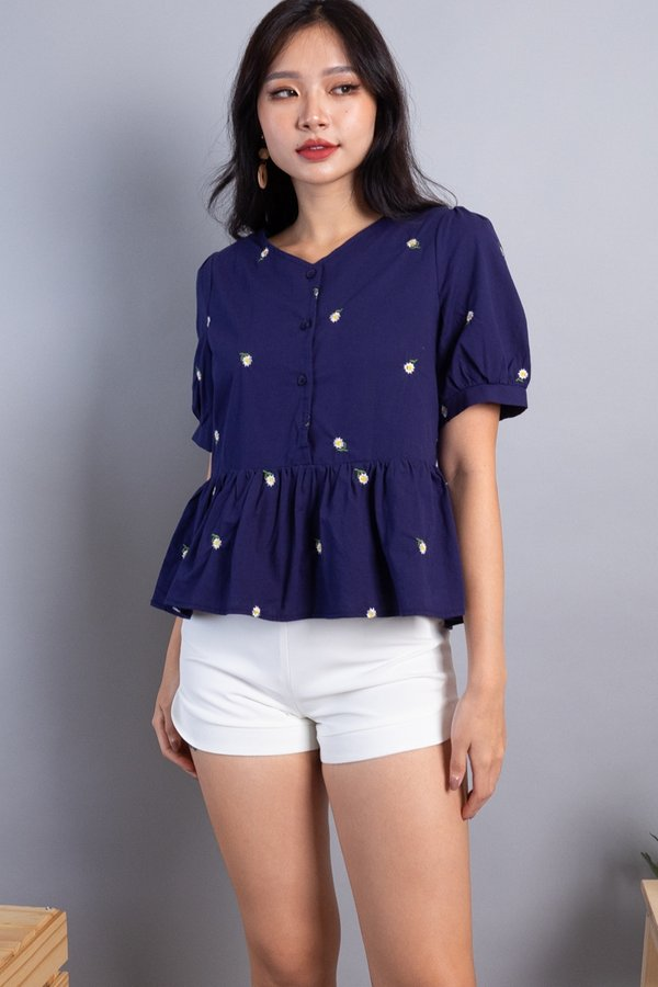 Florina 2-Way Embroidered Blouse in Navy