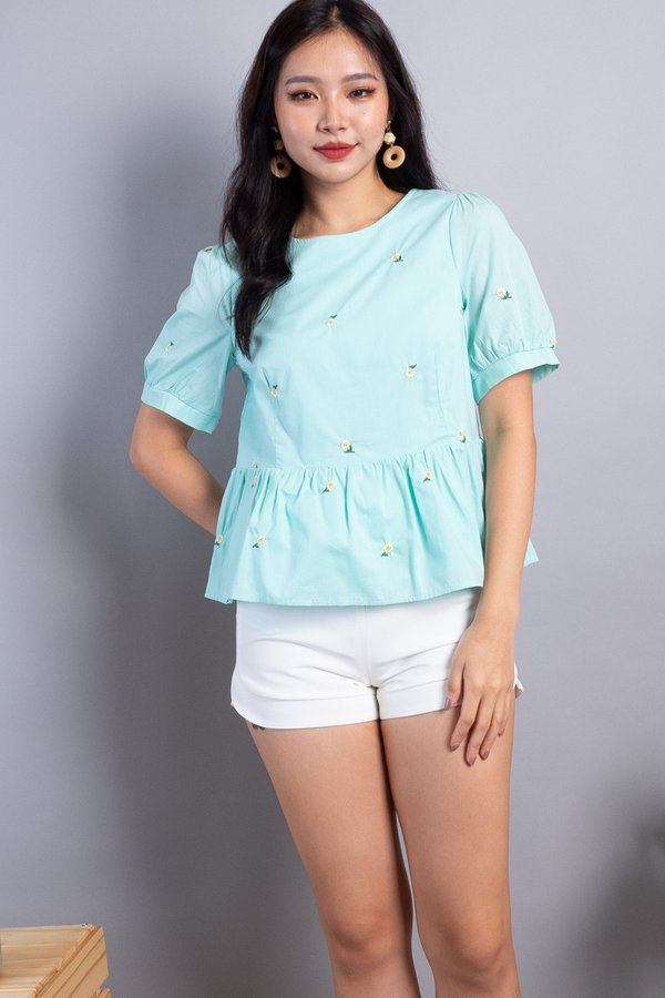 Florina 2-Way Embroidered Blouse in Mint