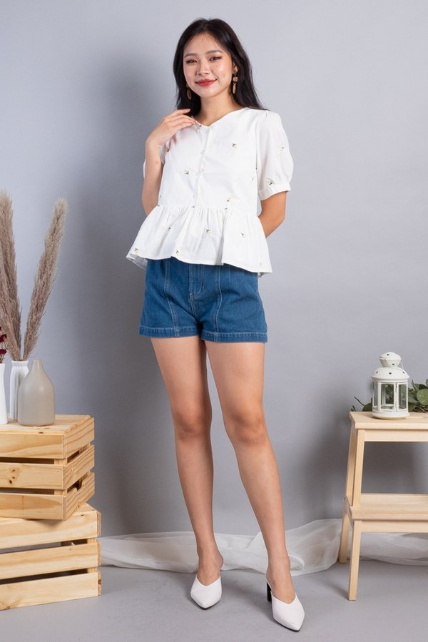 Florina 2-Way Embroidered Blouse in White
