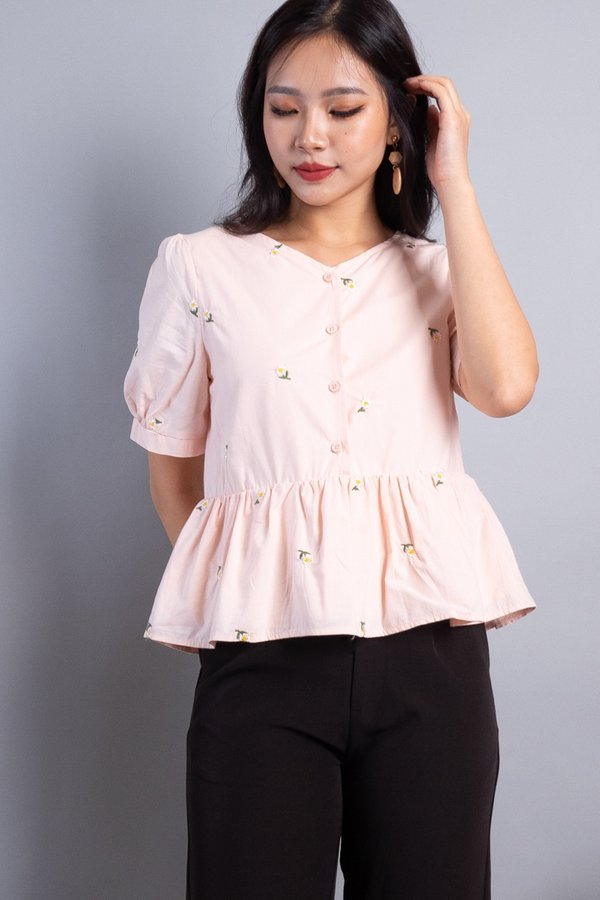 Florina 2-Way Embroidered Blouse in Pink