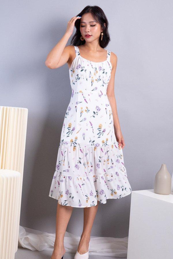 Wynda Ruched 2 Tiered Midi Dress in White Florals