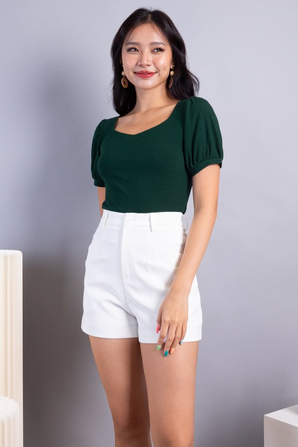 Ley Diamond Cut Basic Ribbed Top in Forest