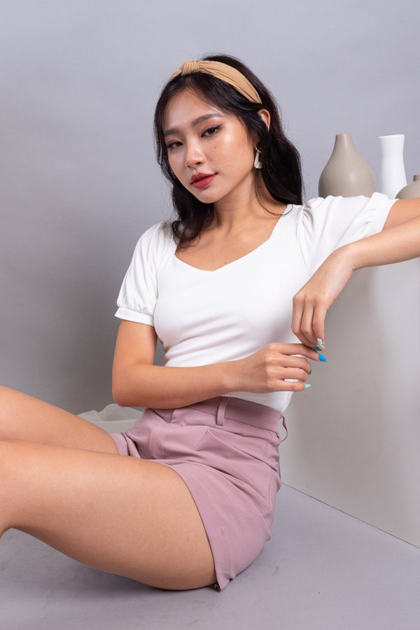Ley Diamond Cut Basic Ribbed Top in White