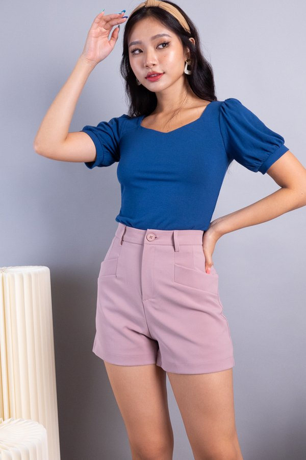 Ley Diamond Cut Basic Ribbed Top in Teal Blue