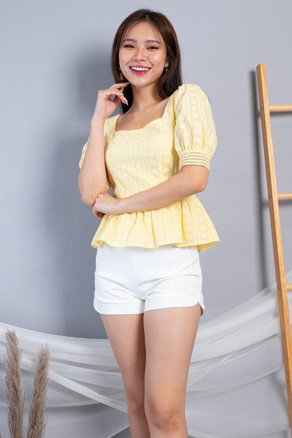Naeva Peplum Eyelet Top in Daffodil