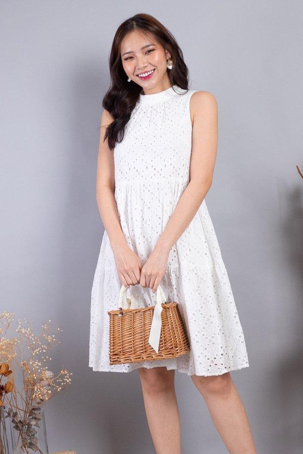 Sherah Hi Neck Eyelet Babydoll Dress in White
