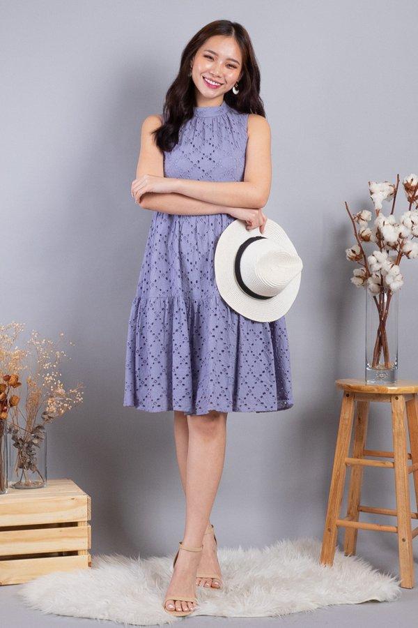 Sherah Hi Neck Eyelet Babydoll Dress in Lilac Grey