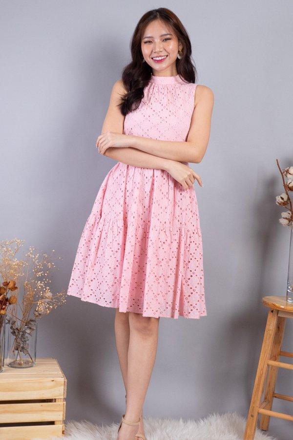Sherah Hi Neck Eyelet Babydoll Dress in Pink