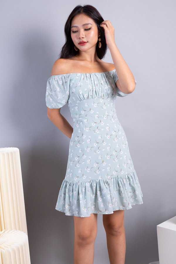 Odila 2-Way Ruched Ruffles Dress in Sage Florals