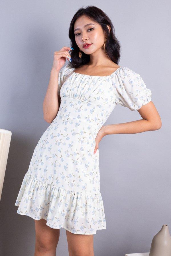 Odila 2-Way Ruched Ruffles Dress in Cream Florals