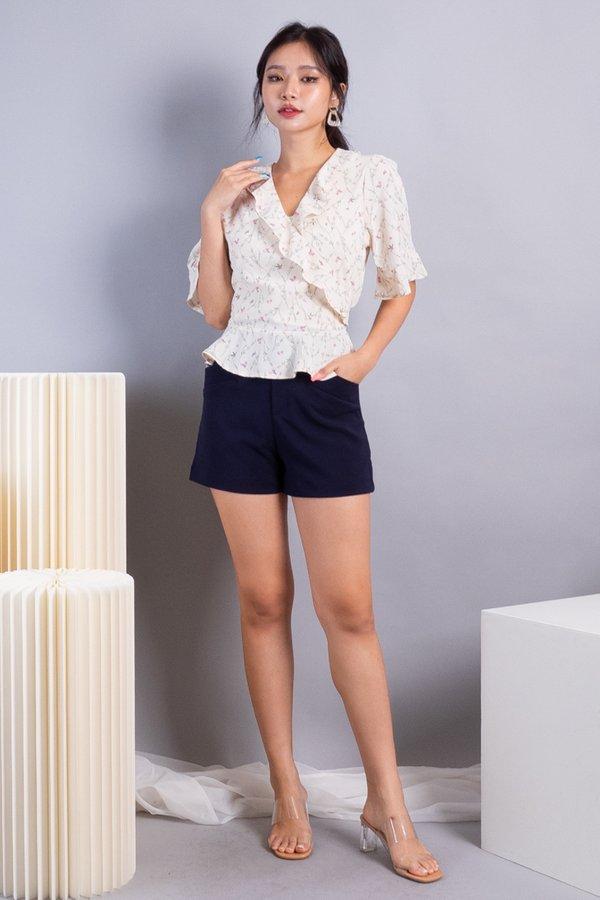 Elsha Ruffles Sleeved Top in Cream Florals
