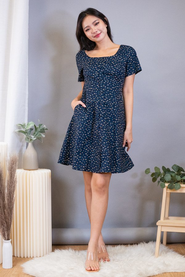 Carice Buttons Down Smocked Back Dress in Navy Cherries