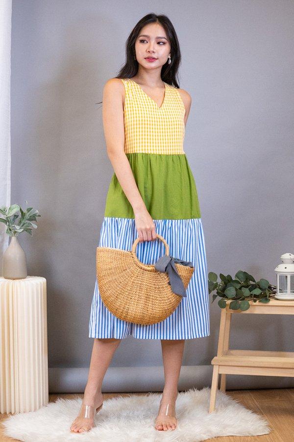 Junia Triple Tone Midi Dress in Yellow Checks