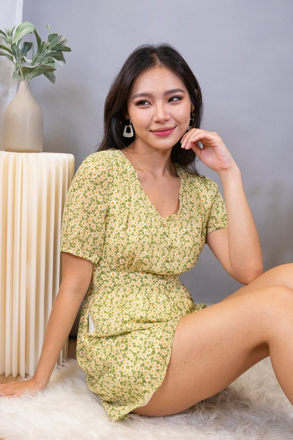 Parley Buttons Down Playsuit in Lime Florals