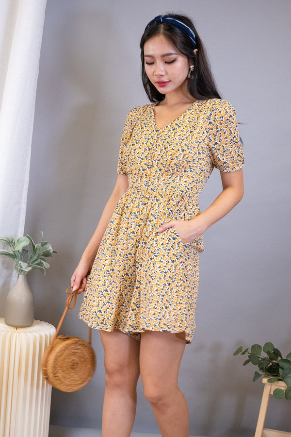 Parley Buttons Down Playsuit in Marigold Florals