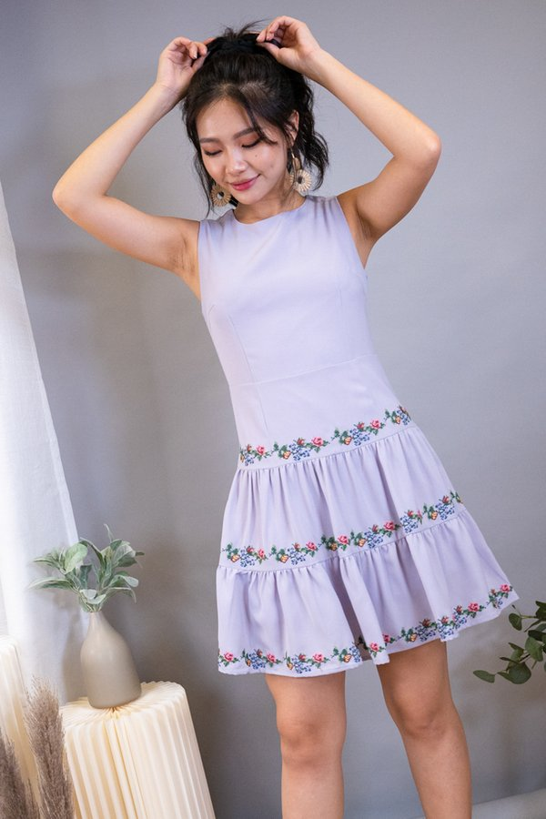 Hessa Embroidery Duo-Tier Skater Dress in Lilac