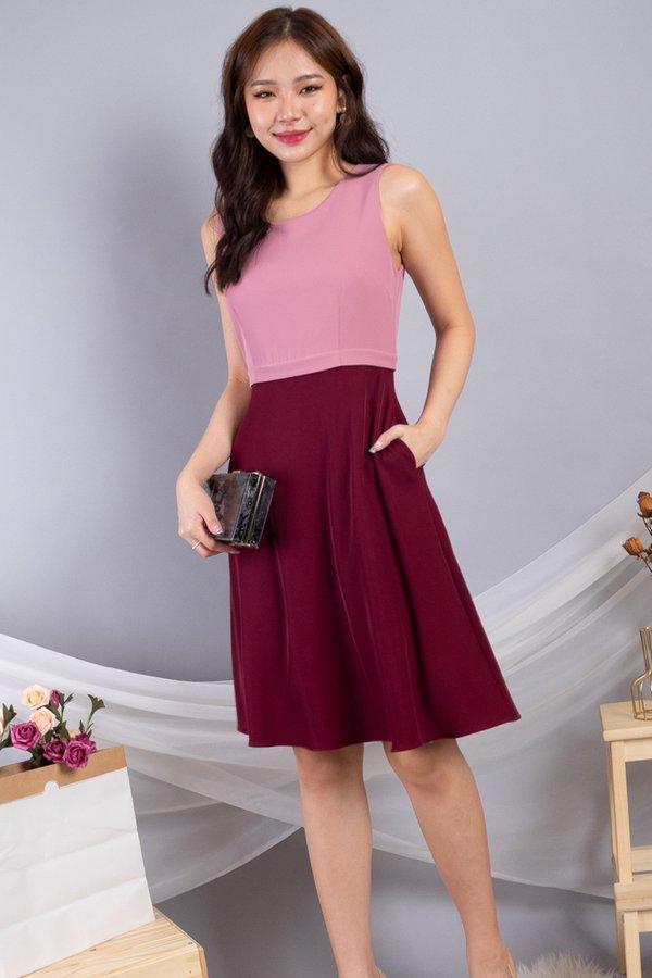 Lera Colourblock Convertible Skater Dress in Pink/Wine
