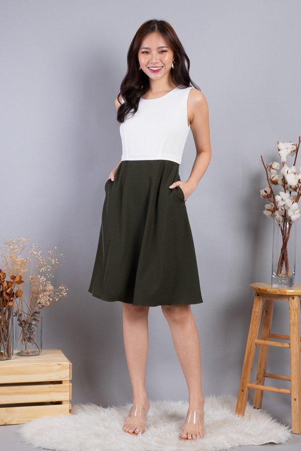 Lera Colourblock Convertible Skater Dress in White/Olive