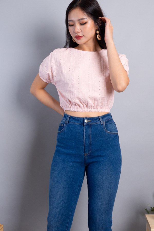 Abie Eyelet Bubble Top in Pink
